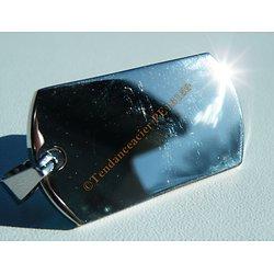 Pendentif Médaille Rectangulaire Pur Acier Inoxydable Argenté Vierge 46 mm Personnalisable à Graver