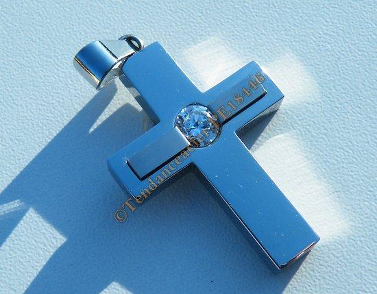 Pendentif Pur Acier Inoxydable Croix Jésus Christ Catholique Religion Foi Argenté Zirconium Strass