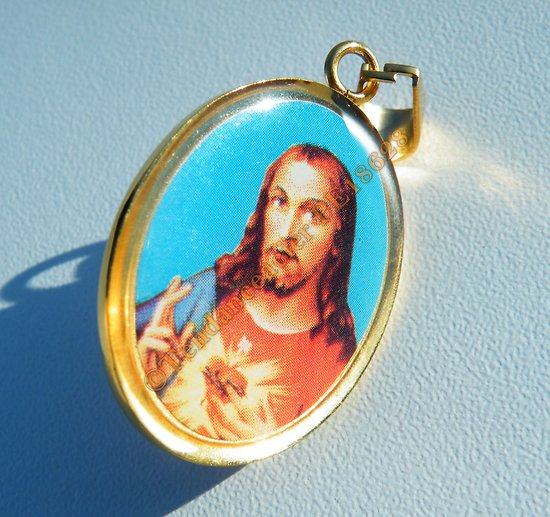Médaille Sainte Pendentif Pur Acier Inoxydable Plaqué Or Coeur Sacré De Jésus Christ