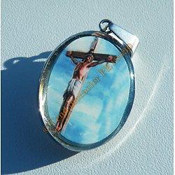 Médaille Sainte Pendentif Pur Acier Inoxydable Argenté Jésus Christ Crucifié Croix