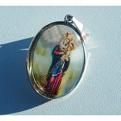 Médaille Sainte Pendentif Pur Acier Inoxydable Argenté Jesus Christ La vierge Marie Religion