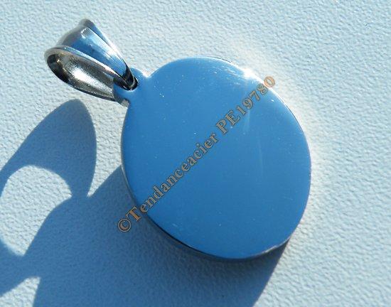 Pendentif Médaille Ronde Pur Acier Inoxydable Argenté Vierge 24 mm a Graver à Personnaliser