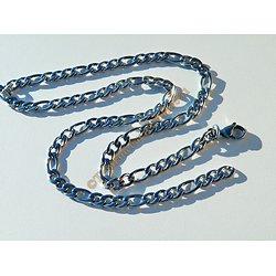 Collier Chaine 56 cm Pur Acier Inoxydable Maille Figaro 3 + 1 Argenté 6 mm