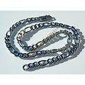Collier Chaine Argenté 10 mm Maille Figaro 3 + 1 Pur Acier Inoxydable Maille 60 cm