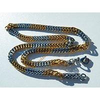 Chaine 56 cm Collier Bicolore Argent et Or Pur Acier Inoxydable Maille Gourmette 6 mm