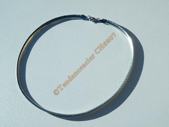 Chaine Ras de Cou Collier Cléopatre 47 cm Argenté Pur Acier Inoxydable Maille Serpentine 6 mm