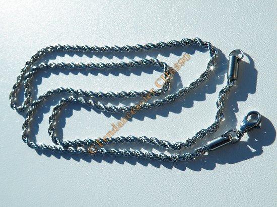 Chaine Longue Collier 60 cm Argenté Pur Acier Inoxydable Maille Torsadé Wire 3 mm