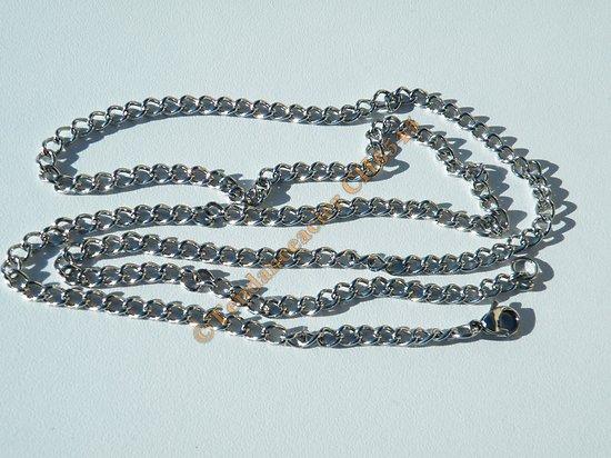 Chaine Longue Collier 70 cm Argenté Pur Acier Inoxydable Maille Ovale Simple Torsadé 4 mm