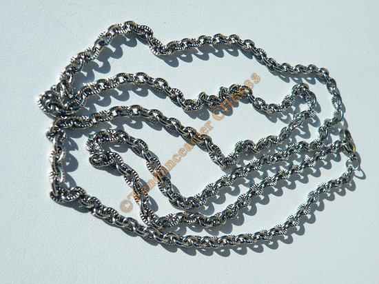Chaine Longue 82 cm Argenté Pur Acier Inoxydable Maille Ovale Ronde Strié 3,8 mm