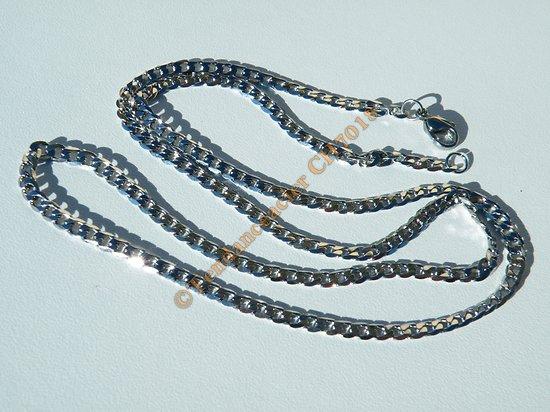 Chaine Longue Collier 60 cm Argenté Pur Acier Inoxydable Maille Gourmette 3,6 mm