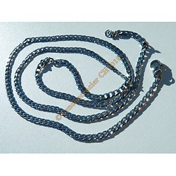 Chaine Longue Collier 70 cm Argenté Pur Acier Inoxydable Maille Gourmette 3,6 mm