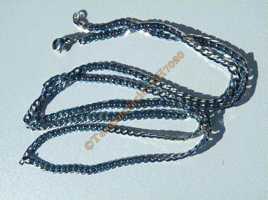 Chaine Longue Collier 80 cm Argenté Pur Acier Inoxydable Maille Gourmette 3,6 mm