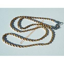 Chaine Collier 56 cm Duo Argenté Doré Or Pur Acier Inoxydable Triple Maille Torsadé Cordage Wire 3 mm