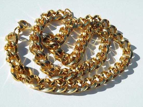 Chaine Collier 61 cm Plaqué Or Pur Acier Inoxydable Maille Anneaux Torsadé Large 11 mm