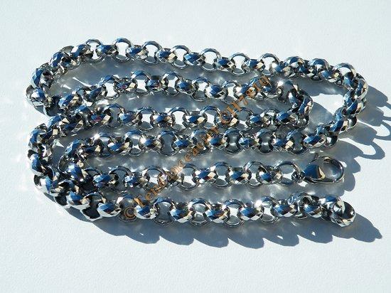 Chaine Longue Collier 70 cm Argenté Pur Acier Inoxydable Maille Jaseron Ronde Multi Facette 9 mm