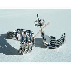 Boucles d'Oreilles Clou 22 mm Pur Acier Inoxydable Argenté Main Squelette Skull Gothique