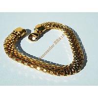 Bracelet 21 cm Doré Plaqué Or Pur Acier Inoxydable Serpentine Large 8 mm 3 Dimensions