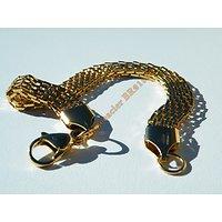 Bracelet 20 cm Doré Plaqué Or Pur Acier Inoxydable Serpentine Large 8 mm