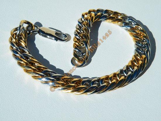 Bracelet Fashion 22 cm Duo Argenté Or Pur Acier Inoxydable Maille Gourmette 9 mm