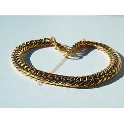 Bracelet 22 cm Pur Acier Inoxydable Maille Gourmette 7 mm Doré Plaqué Or Fashion