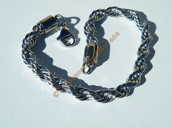 Bracelet Fashion 21 cm Argenté Pur Acier Inoxydable Triple Maille Wire Torsadé 6 mm