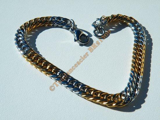 Bracelet Fashion 21 cm Duo Argenté Et Or Pur Acier Inoxydable Maille Gourmette 6 mm