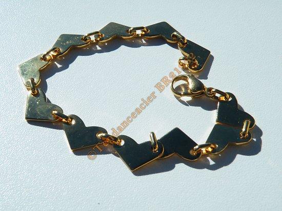 Bracelet Femme Fille 20 cm Doré Plaqué Or Multi Coeur 10 mm Pur Acier Inoxydable