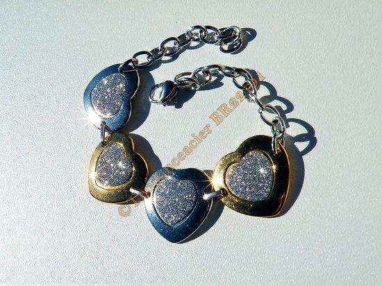 Bracelet Love Fashion 22 cm 4 Coeurs Argenté Doré Pailleté Strassé Pur Acier Inoxydable 22 mm