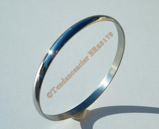 Bracelet Jonc 72 mm Argenté Bombé 6 mm Pur Acier Inoxydable Tendance Fashion