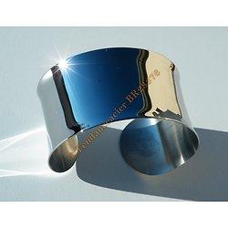 Bracelet Ouvert Bangle Pur Acier Inoxydable Argenté Incurvé Large 38 mm Discount