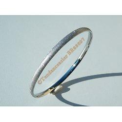 Bracelet Jonc 65 mm Argenté Pailleté Strassé Bombé 4 mm Pur Acier Inoxydable