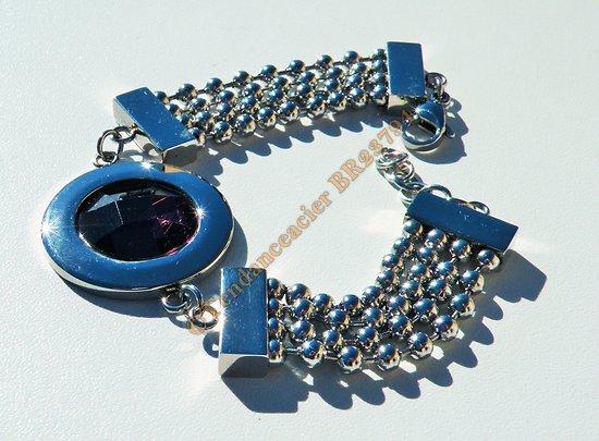 Bracelet Améthyste Violet 4 Rangs Boules Argenté Fashion Femme Acier Inoxydable
