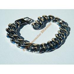 Bracelet 21,5 cm Argenté Pur Acier Inoxydable Maille Gourmette Extra Large 13,3 mm