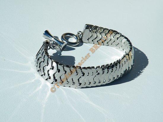 Bracelet 21 cm Argenté Acier Inoxydable Maille Serpent Double Extra Large 15 mm