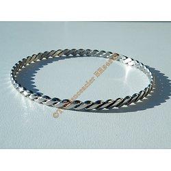 Bracelet Jonc 70 mm Argenté Dentellé Vague Royal 4 mm Pur Acier Inoxydable