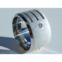 Bague Acier Inoxydable Large 15 mm 3 Découpes 1 Diamant Zircon Strass Love