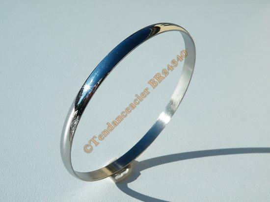Bracelet Jonc 64 mm Argenté Bombé 5 mm Pur Acier Inoxydable Femme Fille Mode