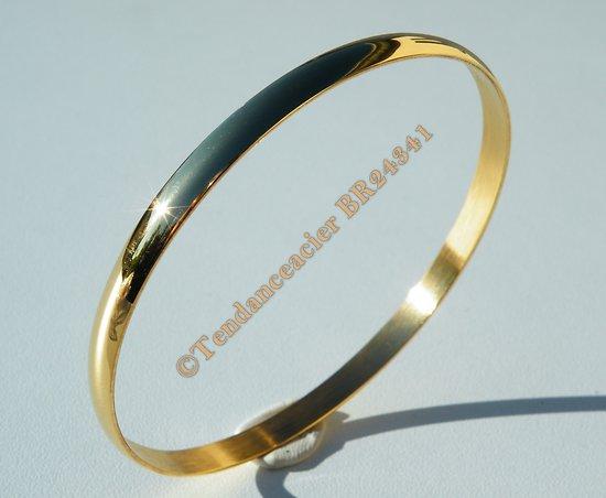 Bracelet Femme Fille Jonc 65 mm Doré Plaqué Or Bombé 5 mm Pur Acier Inoxydable
