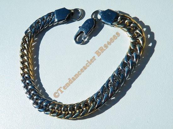 Bracelet 22 cm Duo Argenté Or Alterné Pur Acier Inoxydable Maille Gourmette 8 mm