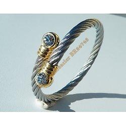 Bracelet Bangle Etirable Ajustable Wire Argenté Sertie 2 Strass Or Pur Acier Inoxydable