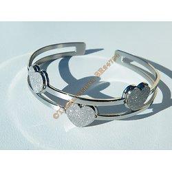 Bracelet Ouvert Bangle Ajustable Pur Acier Inoxydable Argenté Triple Coeur Love Amour