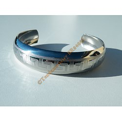 Bracelet Jonc 16 mm Ouvert Ajustable Pur Acier Inoxydable Argenté Brillant Bombé