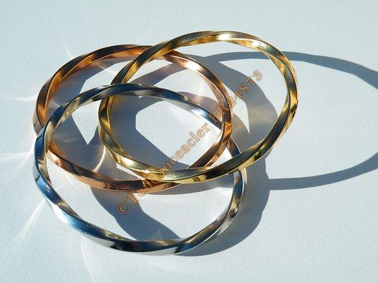 Bracelet 3 Joncs Emmélé Torsadés Tricolore Doré Or Rose Argent Pur Acier Inoxydable