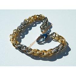 Bracelet 21 cm Duo Or Argenté Acier Inoxydable Double Maille Wire Entremellé Torsadé 8 mm