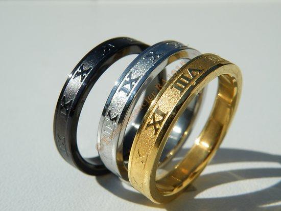 3 Alliances Jonc Chiffres Romains Acier Inoxydable OR Argent et Noir