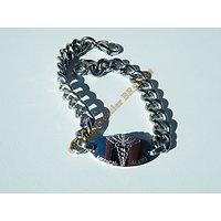 Bracelet 20 cm Plaque Médicale Santé 24 mm Argenté Pur Acier Inoxydable Maille Gourmette 8 mm