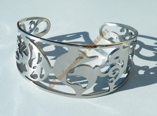 Bracelet Jonc 32 mm Ouvert Ajustable Pur Acier Inoxydable Argenté Dauphin Découpe