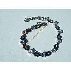 Bracelet 19 cm Tendance Maille Bouche Ovale Argenté Sertie 10 Diamant Strass Pur Acier Inoxydable