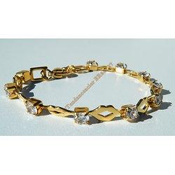 Bracelet 19 cm Tendance Maille Bouche Ovale Doré Or Sertie 10 Diamant Strass Pur Acier Inoxydable