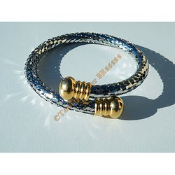 Bracelet Bangle Jonc Ajustable Duo Argenté Doré Or Pur Acier Inoxydable Maille Serpent Ecailles